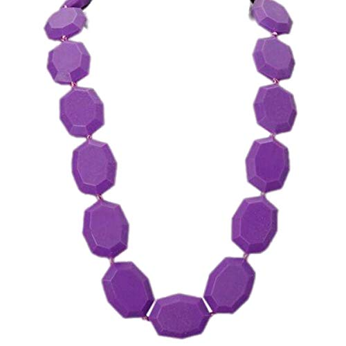 Gumeez Teething Necklace for MOM | Faceted Beads | 100% Silicone | Functional & Fashionable | Includes Jammy Jams Lullaby Album 'Pop Divas Go Lullaby' Digital Download (Julia - - Faceted Orchid