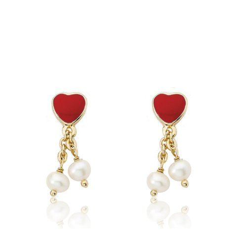 Little Miss Twin Stars I LOVE My Jewels 14k Gold-Plated Red Heart & 2 Pearl Lariat Dangle (Little Pearl Jewels)