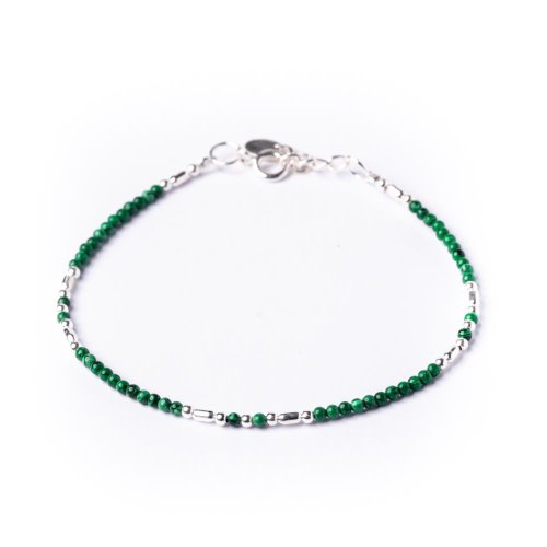 81stgeneration Women's .925 Sterling Silver Green Malachite Bead Bracelet, 15.5 + 2.5cm Extender