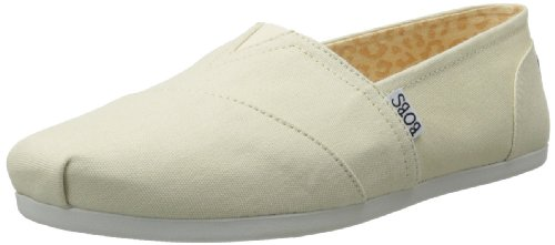 Flat Construction Canvas Natural - BOBS from Skechers Women's Plush Peace and Love Flat,Natural,9.5 M US