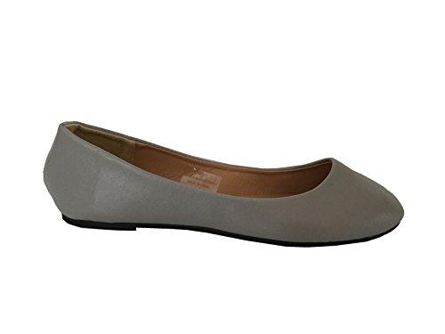 Shoes8teen Shoes 18 Damen Ballerina Ballerinas Flache Schuhe Solids & Leopards ... Graues Pu 8600