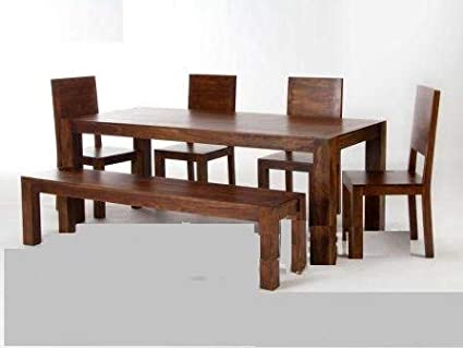Shilpi Sheesham Wood Wooden Dining Table with 4 Chairs 1 Bench 1 Table | Home and Living Room Dining Set