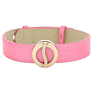 Philip Stein Women's Rose Gold Plated Small Buckle Silk Leather Strap Bracelets, 6 cm