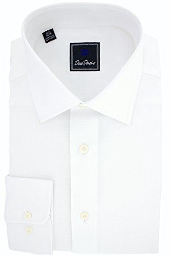 David Donahue Men's Royal Oxford Trim Fit Dress Shirt (White, 18 34/35) (Trim Dress Shirt)