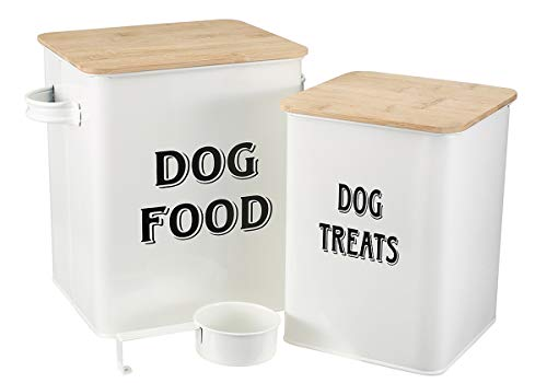 (Dog Food and Treats Containers Set with Scoop for Cats or Dogs - Beige Powder -Tight Fitting Wood Lids - Coated Carbon Steel - Storage Canister Tins)