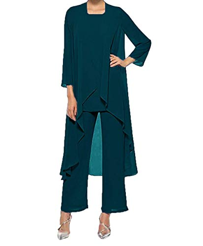 Teal Women's Pieces Three Gown Dress Evening The Champagne Mother Suits Lell Fitty Bride of Chiffon A5pxq6A
