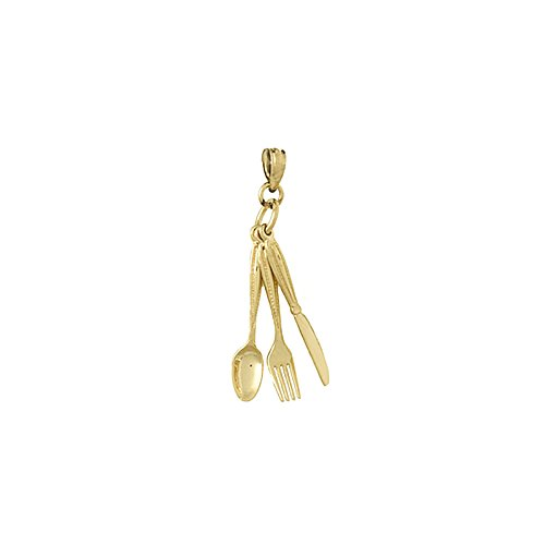 14k Yellow Gold Profession Charm Pendant, 3-D Table Knife, Fork & Spoon, Moveable ()