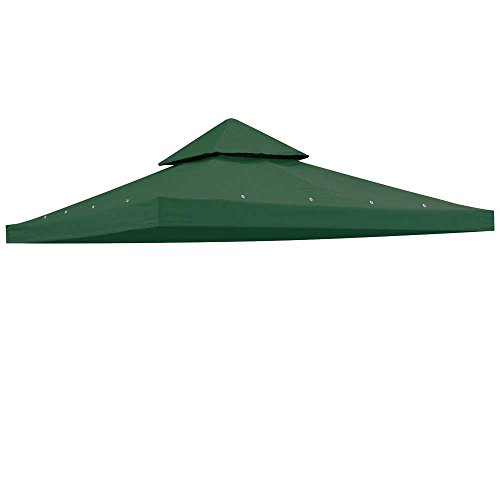 (Heavy Duty Green Poly Fabric 10x10 Square Feet Garden Canopy Gazebo Replacement Vented Top 2-tier UV Protect Waterproof for Outdoor Patio Lawn Sun Shade Tent)