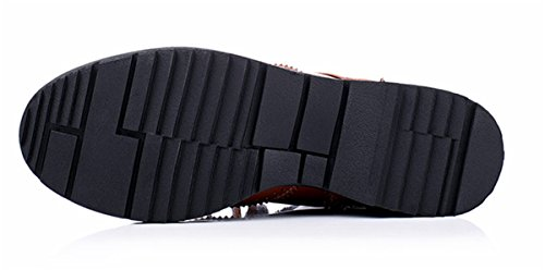 YE Damen Flache Schnür Stiefeletten mit Riemchen Reißverschluss Bequeme Brogues Herbst Winter Ankle Boots Schuhe Braun