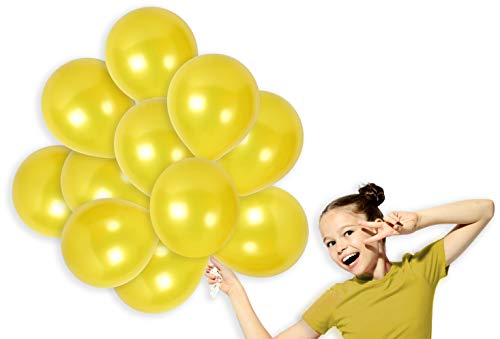 (Pack of 100 Metallic Bright Yellow 12 Inch Balloons with Ribbon Light Round Pearl Latex for Graduation or Baby Shower with Long Lasting Decorations)