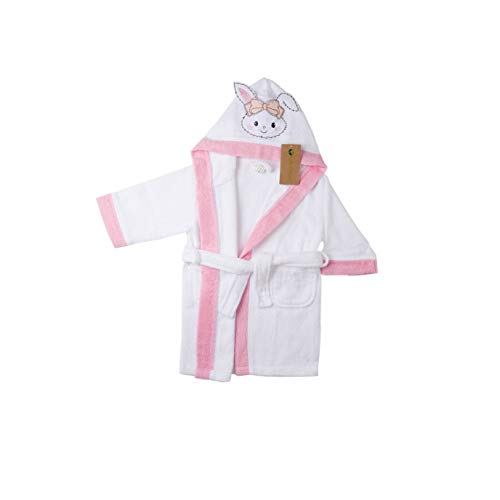Bella Terry Robe - 100% Organic Certified Soft Cotton Baby Bath Robe Boys and Girls by Bella Colors (Pink)