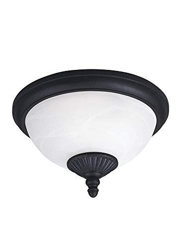 Sea Gull Lighting 88048EN3-185 Two Light Outdoor Ceiling Flush Mount, Forged Iron