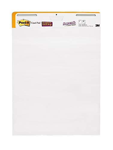 Paper Standard Pad - Post-it Super Sticky Easel Pad, 25 x 30 Inches, 30 Sheets/Pad, 2 Pads (559 STB), Large White Premium Self Stick Flip Chart Paper, Rolls for Portability, Hangs with Command Strips