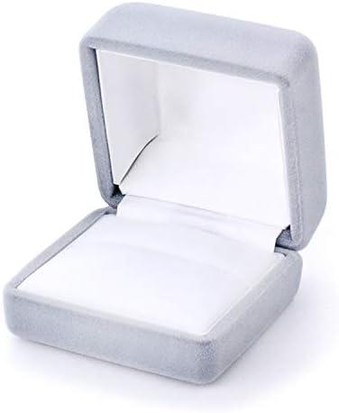 Barzaz ケース ボックス リング 指輪 収納 箱 四角 ラッピング グレー 灰色