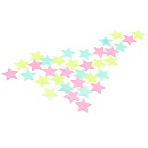 100Pcs DIY Colorful Wall Star Luminous Sticker Fluorescent Glow Decal Room Decoration - 3