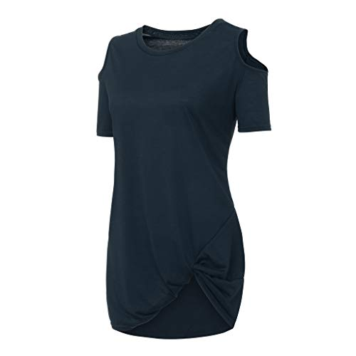 IAMUP Ladies Casual Short Sleeve Tops Strapless Solid Elegant T-Shirt Loose Soild O Neck Top Blouse Navy by IAMUP (Image #3)
