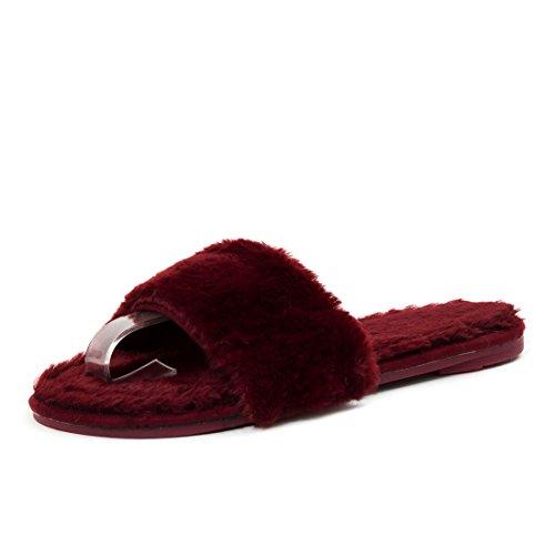 Damen Hausschuhe flache Plüsch Pantoffeln Indoor Slipper mit Kunstfell Weinrot