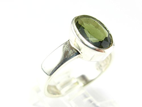 Moldavite Ring In Sterling Silver From Czech - Size 9