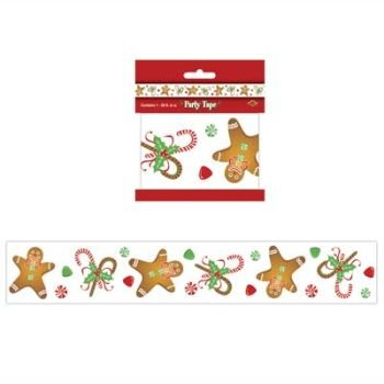 12m GINGERBREAD BOY/MAN PARTY Tape/STREAMERS/CHRISTMAS/Holiday DECORATIONS/2 Pks 20' each DECOR/PARTY/OFFICE/CANDY CANES/FESTIVE   B009VQ2CD2