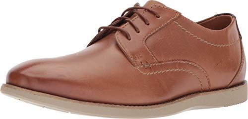 Clarks Men's Raharto Plain Shoe, dark tan leather, 10.5 Medium US (Lace Shoes Oxford)