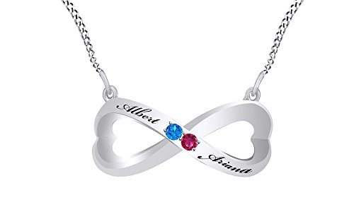 Personalized Custom Engravable Simulated Blue Topaz Couple's infinity Pendant Necklace in Sterling Silver by AFFY