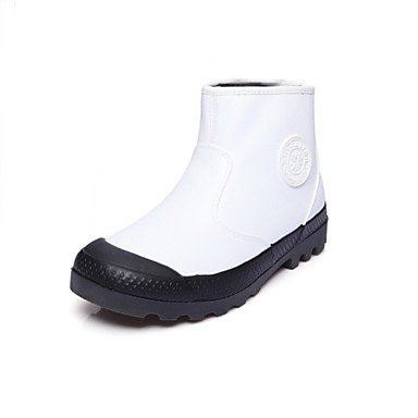 Boots Shoes Light Calf Heel Fashion US6 Boots RTRY Casual Athletic UK4 Leatherette Round Winter EU36 Black Toe Grey Fur CN36 Lining Flat Mid Boots Women'S For w6x85fH
