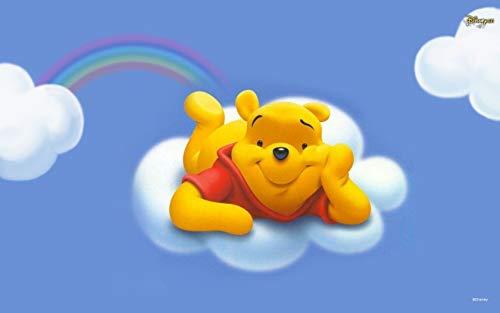 Disney Winnie the Pooh Pooh Bear Cloud Rainbow Edible Cake Topper Image ABPID09197 - 1/8 sheet - Pooh Bear Cake Birthday