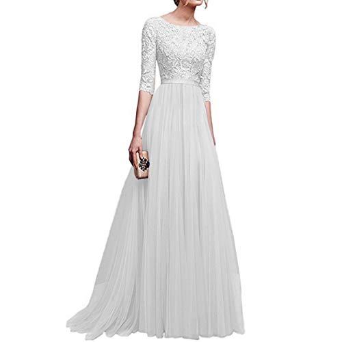 COSYOU Spring Elegant Women Floral Lace Long Dress Floor Length Party Dresses Ladies 3 Quarter Sleeve Maxi Chiffon Dress (White, XXXL)