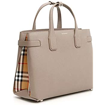 8b569c7aa7 Amazon.com: Burberry Women's Taupe Leather Banner Check Derby Tote ...