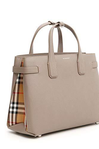 Burberry Medium Banner in Leather and Vintage Check- Taupe Brown