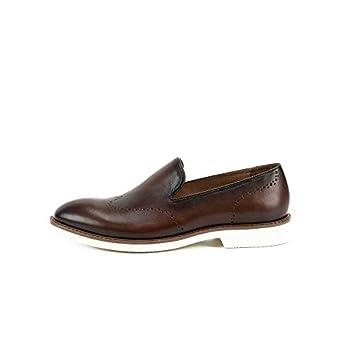 Ruanyi Mocasines Hechos a Mano de Cuero Genuino Mocasines Casuales Zapatos de Oficina Masculina Round Head Block Oxfords para Hombres (Color : Brown, ...