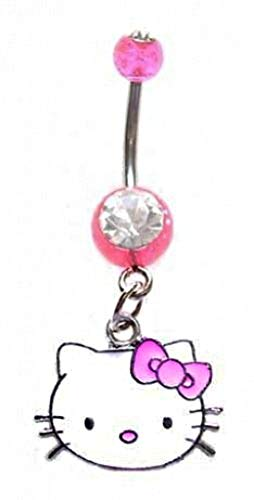 - playful piercings Pretty Cute Pink Hello Kitty Head Face Dangle Belly button Navel Ring 14 gauge