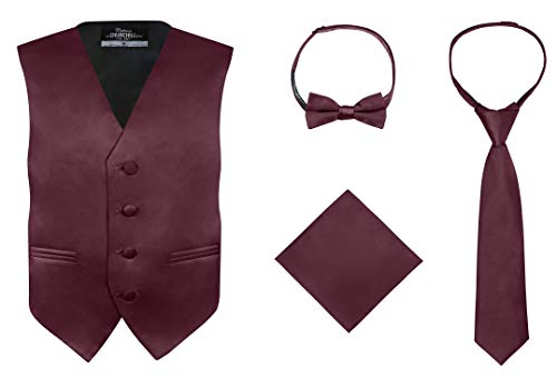 (S.H. Churchill & Co. Boy's 4 Piece Vest Set, with Bow Tie, Neck Tie & Pocket Hankie, Burgundy Size)