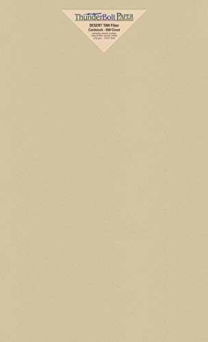 250 Desert Tan Fiber Finish Cardstock Paper Sheets - 8.5 X 14 Inches Legal|Menu Size - 80 lb/pound Cover|Card Weight 216 gsm - Natural Fiber with Darker Specks - Slightly Rough Finish by ThunderBolt Paper
