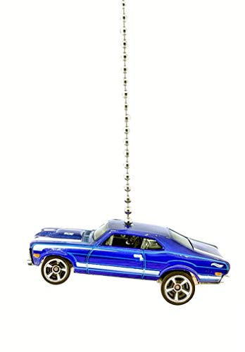 Chevy Diecast Car Ceiling Fan Light Pull & Ornament 1/64 Scale (1968 Chevy Nova Blue)
