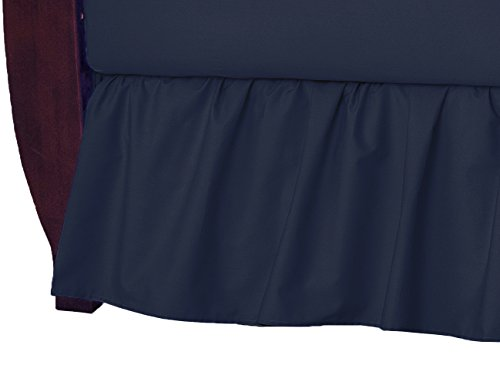 (American Baby Company 100% Natural Cotton Percale Ruffled Crib Skirt, Navy, Soft Breathable, for Boys)