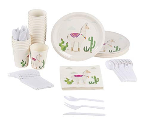 Llama Party Supplies – Serves 24 – Includes Plates, Knives, Spoons, Forks, Cups and Napkins. Perfect Birthday Party Pack for Girls Boho Themed Parties, Llama Cactus -