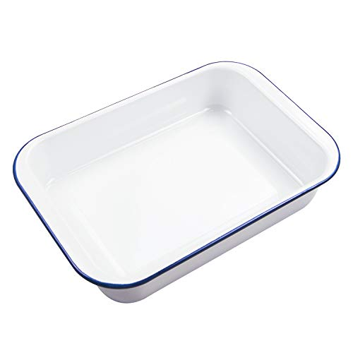 Webake Enameled Cast Iron Roasting/Lasagna Pan, 14-inch Rectangular Non-stick Roaster Ceramic Deep Dish, for Oven Baking - Solid White with Blue Rim