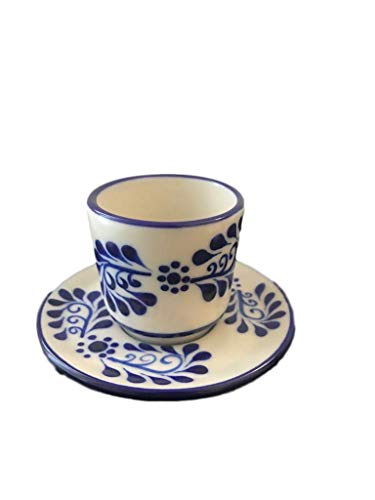 Colonial Saucer - Talavera Espresso Cup and Plate Set - Ceramic Cup and Saucer - 2 oz - Made in Mexico - Colonial White
