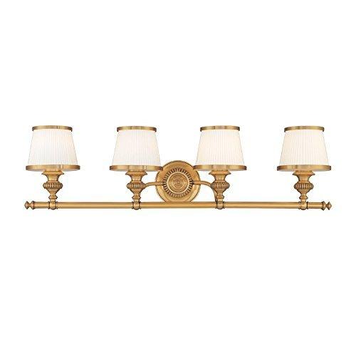 Hudson Valley Lighting Milton 4-Light Vanity Light - Flemish Brass Finish with Opal Glossy Glass Shade by Hudson Valley Lighting (Flemish Brass 4 Light)