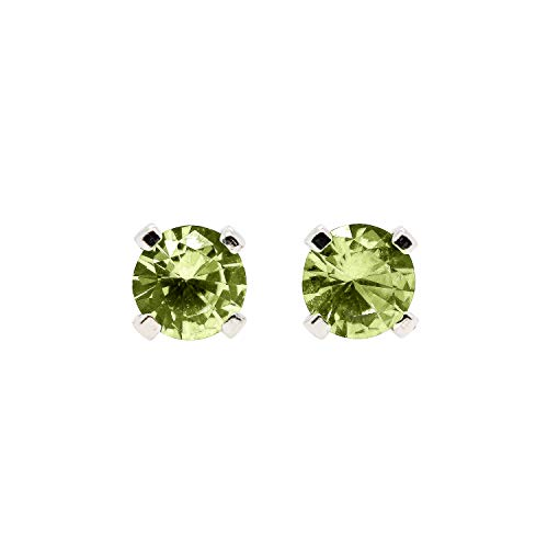 3mm Tiny Lime Green Peridot Gemstone Post Stud Earrings in Sterling Silver - August Birthstone
