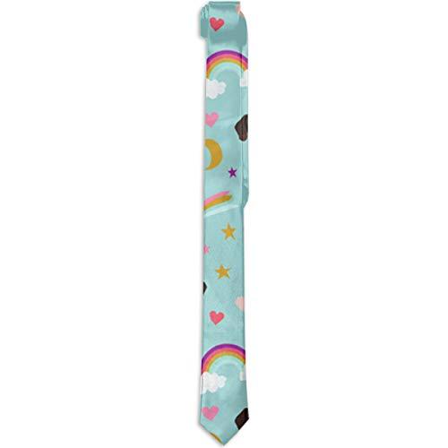 Lindalingaling German Shorthaired Pointer Fabric Rainbows Unicorns Gentleman Classic Tie Men's Necktie Suitable for Business,Graduation,Wedding,Meeting. ()