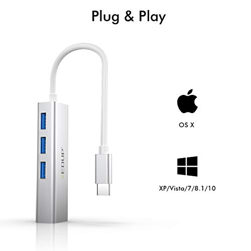 USB C Hub, 4-in-1 USB-C to Gigabit Ethernet Adapter, USB 3.0 1Gbps RJ45 Port I Thunderbolt to RJ45 LAN Converter, Support MacBookPro/MacBook Air/iPad