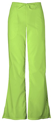 (Cherokee Women's Natural Rise Flare Leg Drawstring Pant_Lime Green_Medium,4101)