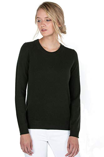 JENNIE LIU Women's 100% Pure Cashmere Long Sleeve Crew Neck Sweater(S, Pine)