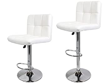 TMS 2 Synthetic Leather Modern Design Adjustable Swivel Barstools Hydraulic  Bar Stool (WHITE)