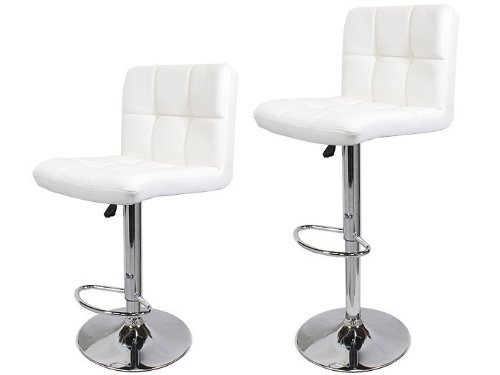 Price comparison product image TMS 2 Synthetic Leather Modern Design Adjustable Swivel Barstools Hydraulic Bar Stool (WHITE)
