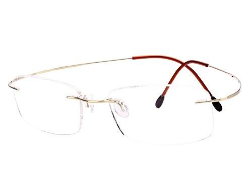 Agstum Pure Titanium Rimless Frame Prescription Hingeless Eyeglasses Rx (Gold., - Gold Rimless Frames Eyeglass
