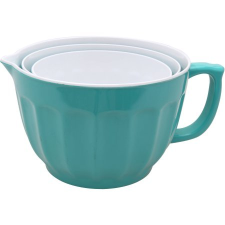 Mainstays 3-Piece Batter Bowls Set, Turquoise Blue