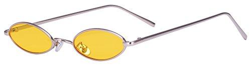 AOOFFIV Vintage Slender Oval Sunglasses Small Metal Frame Candy ()